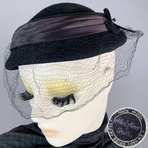 Vintage 50s Wool Felt Toque Mourning Veil Hat
